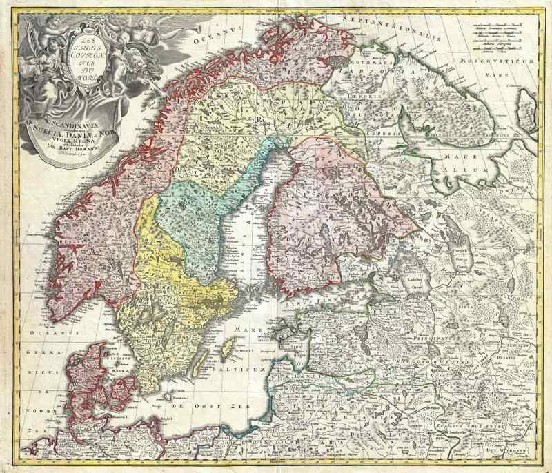 1730 Homann Map of Scandinavia, Norway, Sweden, Denmark, Finland and the Baltics