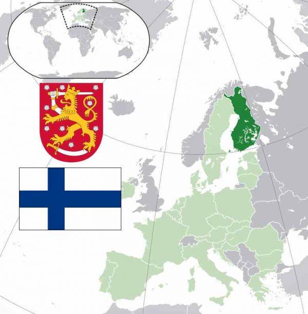 Finland wapen, vlag en kaart