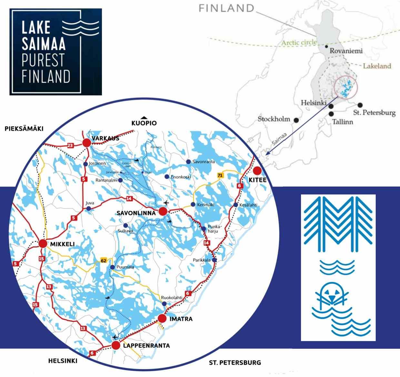 Kaart van Savonlinna en omgeving
