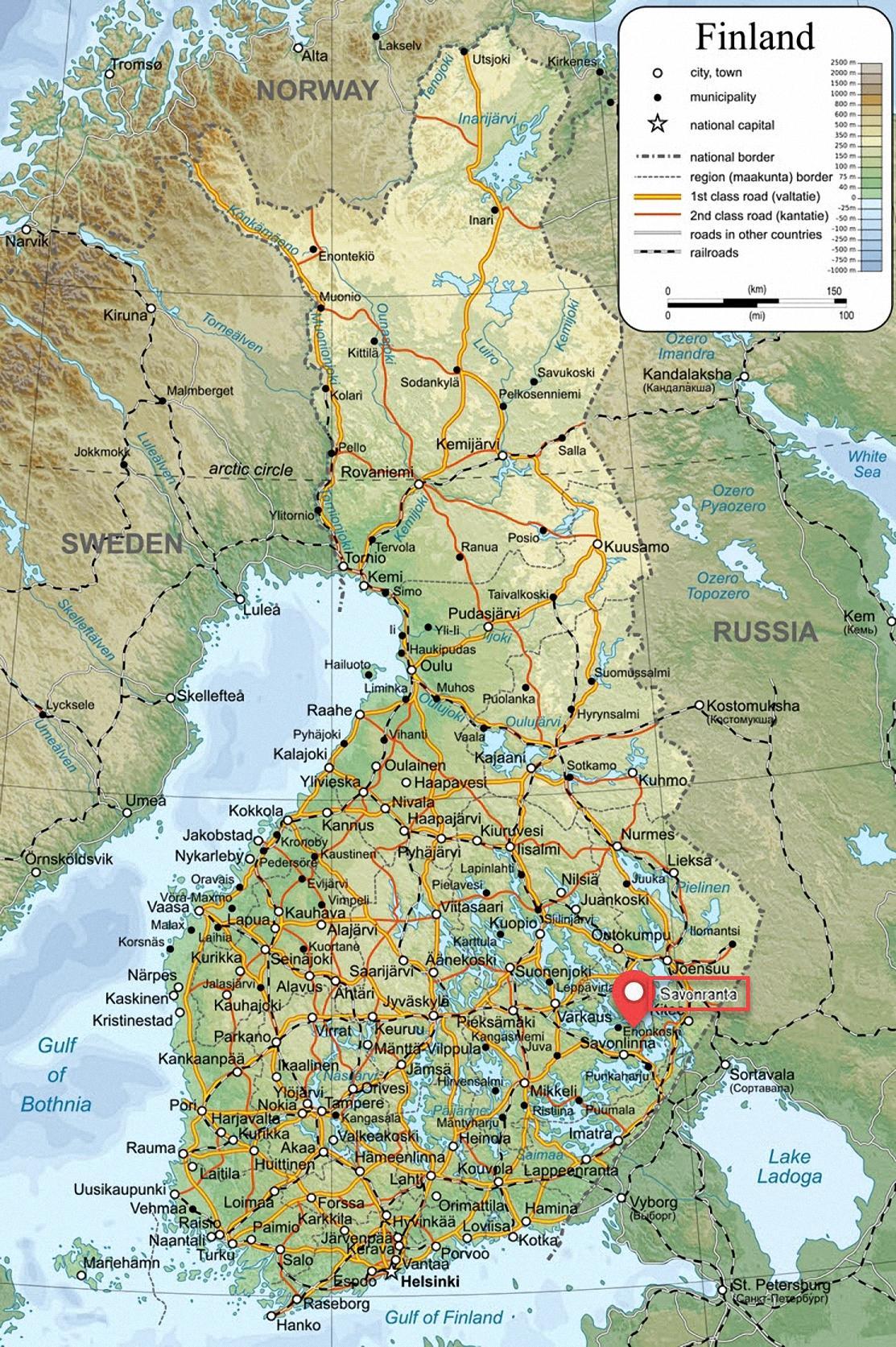 kaart van finland